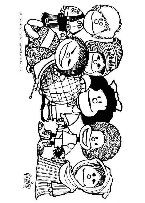 Dibujos para colorear mafalda y los niños - es.hellokids.com