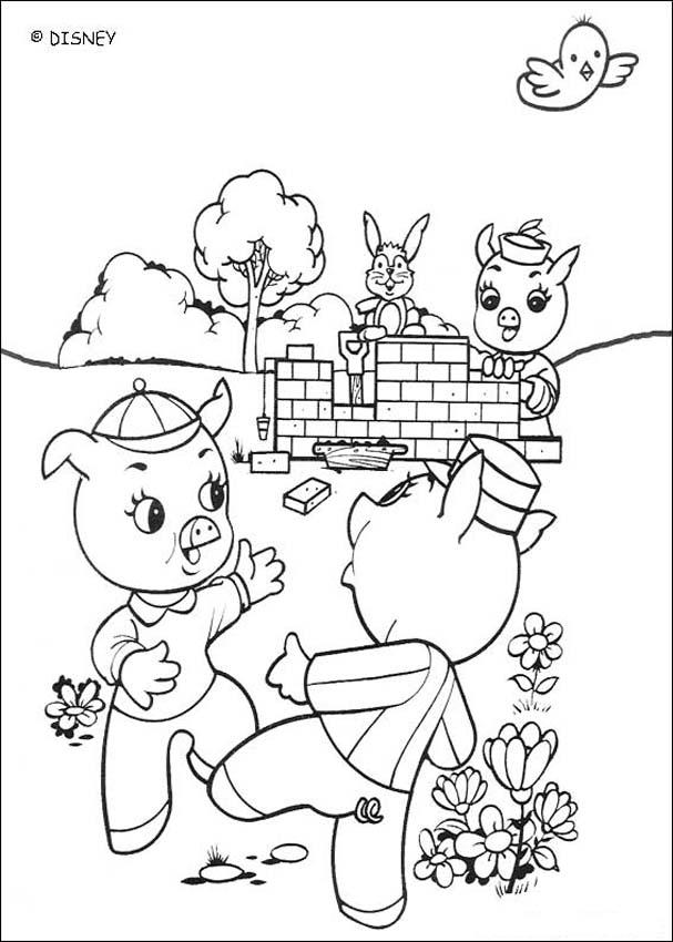 Dibujos para colorear los tres felices cerditos  eshellokidscom