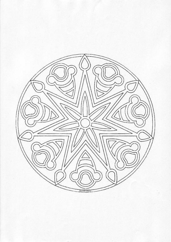 Dibujos para colorear mandala trensas y estrellas - es.hellokids.com