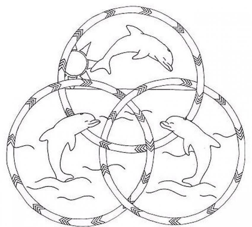 Dibujos para colorear mandala delfines felices - es ...