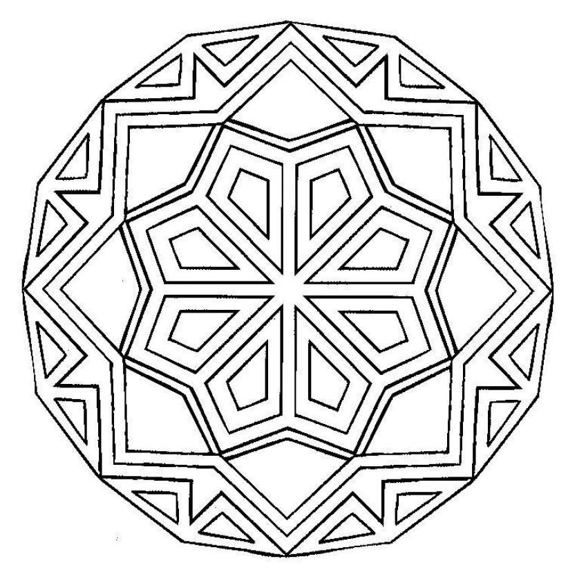 Dibujo Para Colorear   Mandala Rombos Y L  Neas