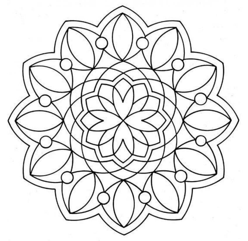 Dibujo para colorear : Mandala con flores