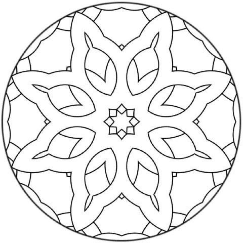 Dibujo Para Colorear   Mandala Flores Y Estrellas