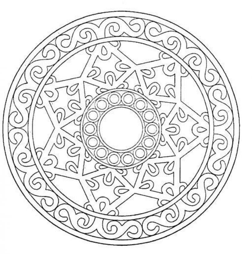 Dibujos para colorear mandala estrella en 3d - es.hellokids.com