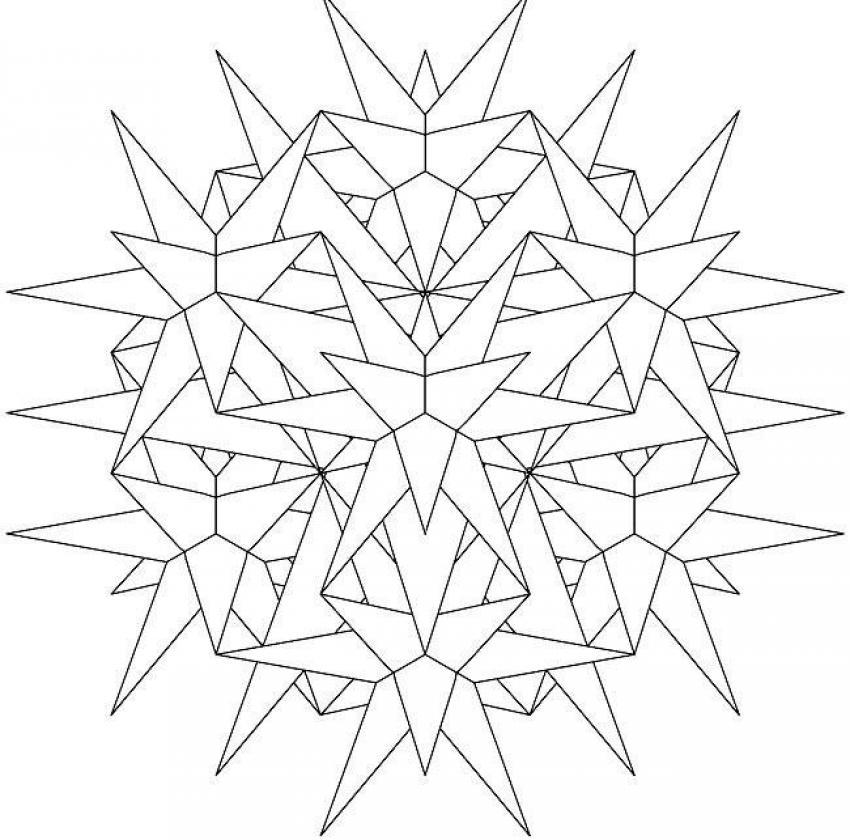 Dibujo para colorear : Mandala Estrellas y rectángulos