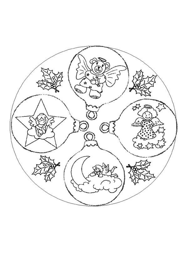 Dibujo para colorear : Mandala decoracion de Navidad