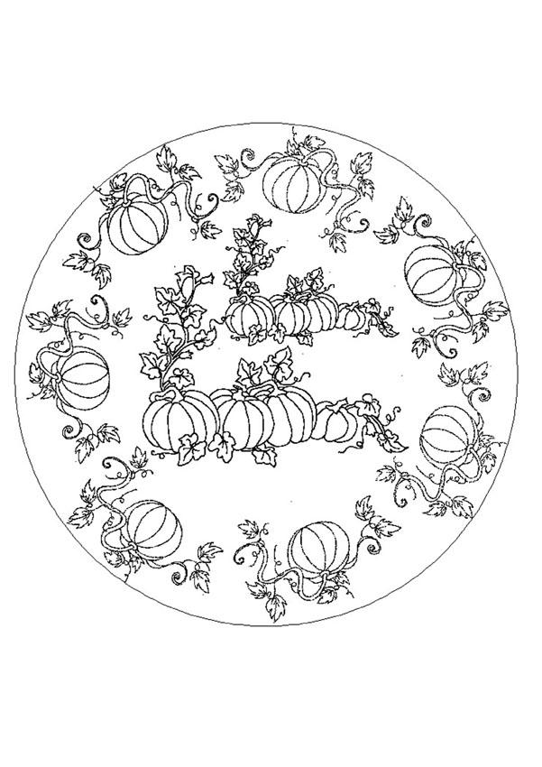 Dibujos para colorear mandala otoño - es.hellokids.com