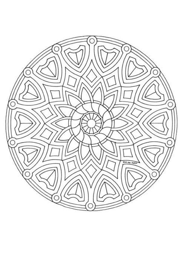 Dibujos para colorear mandala flores y corazones - es.hellokids.com