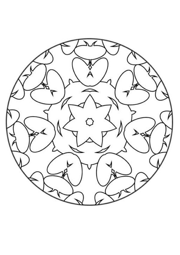 Dibujo para colorear : Mandala Flores y corazones