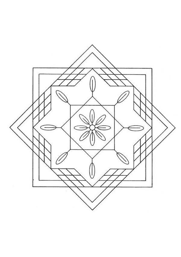Dibujo Para Colorear   Mandala Cuadrados Y Tri  Ngulos