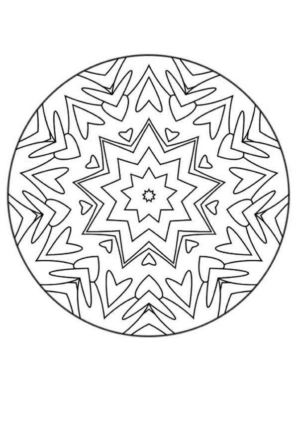 Dibujo para colorear : Mandala Corazones y flechas