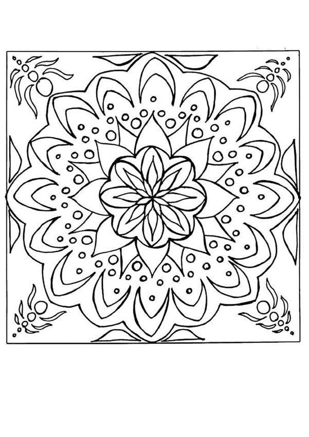 Dibujos para colorear mandala azulejo flor - Azulejos con dibujos ...