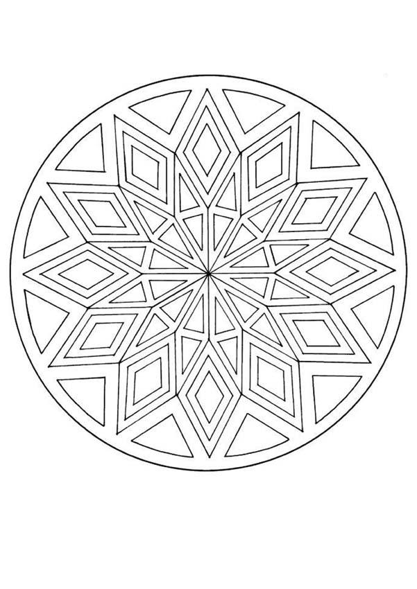 Dibujo para colorear : Mandala Rombos y triángulos
