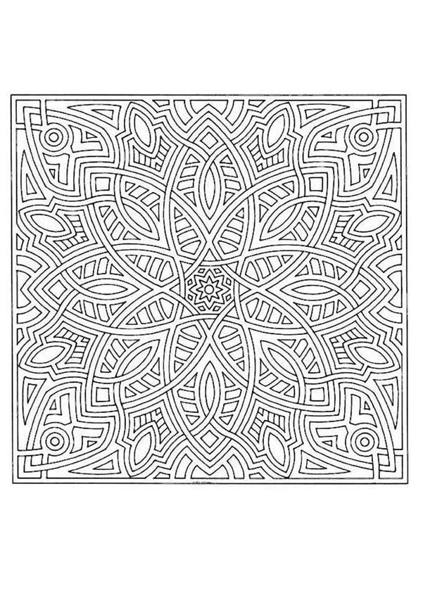 Dibujos Para Colorear Mandala Formas Geometricas Es Hellokids Com
