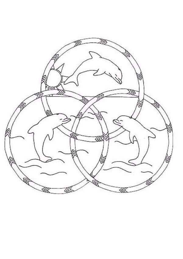 Dibujos para colorear mandala hermosos delfines - es.hellokids.com