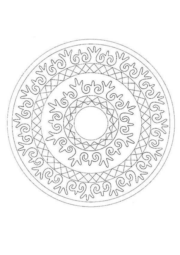 Dibujo para colorear : Mandala Arabescos