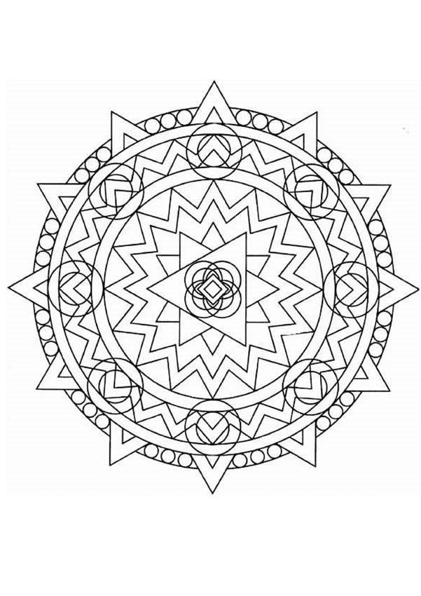 Dibujo para colorear : Mandala Formas geométricas