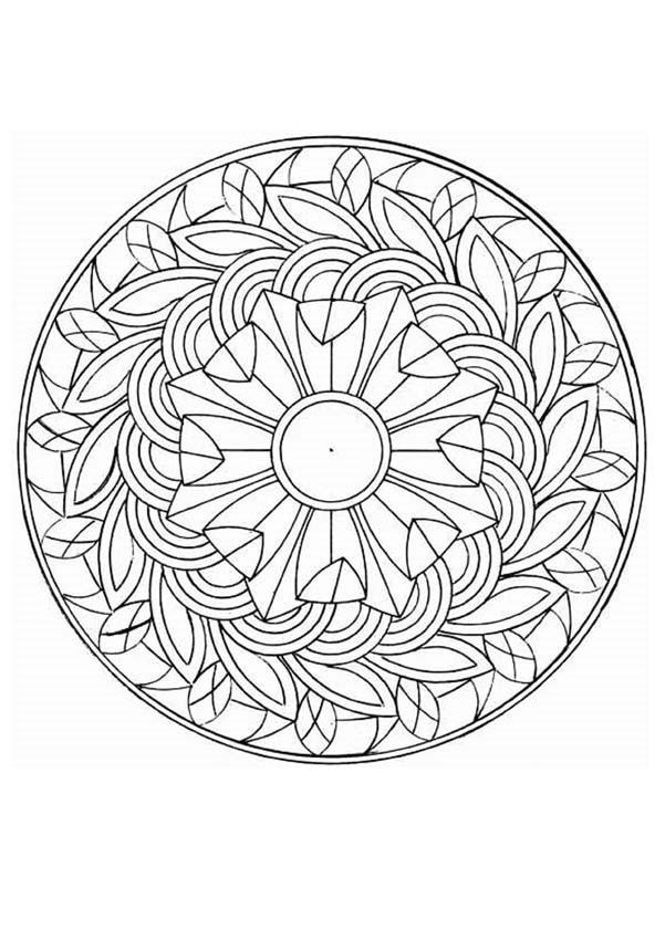 Dibujo para colorear : Mandala Impresión de otoño