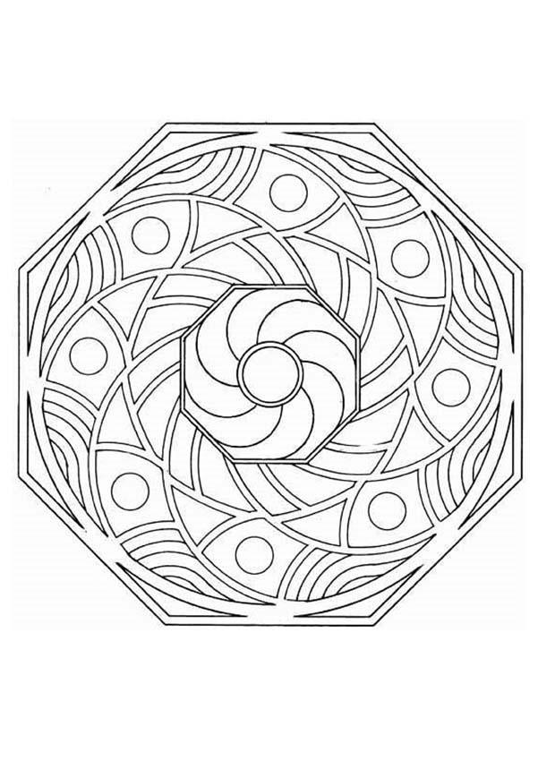 Dibujo para colorear : Mandala Octogonal