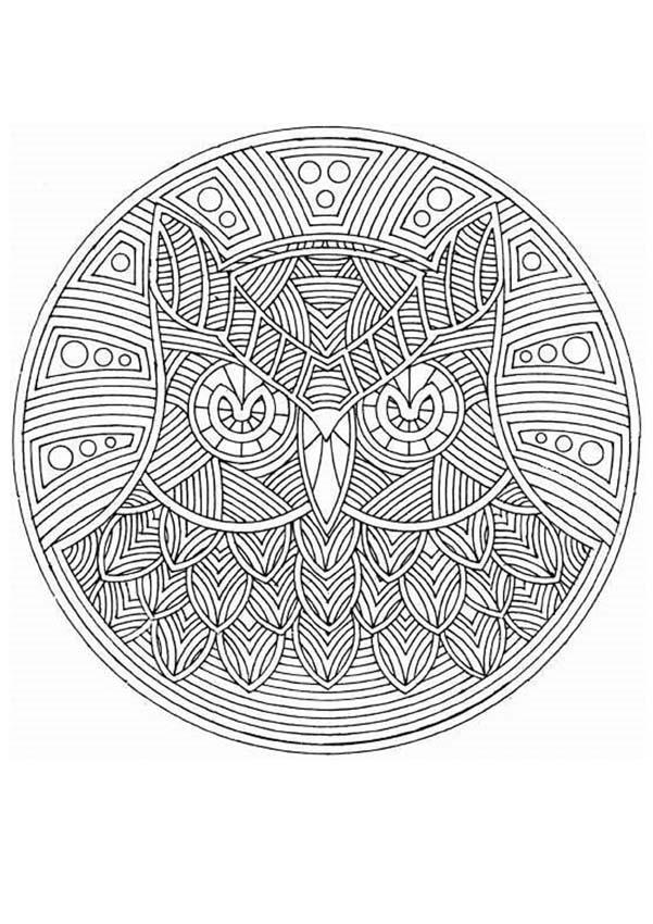 Dibujo para colorear : Mandala Búho