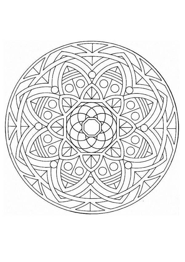 Dibujo para colorear : Mandala Flores y frutas