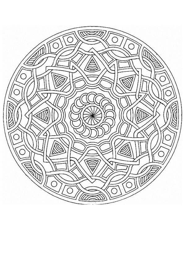 Dibujo para colorear : Mandala Trensas y estrellas