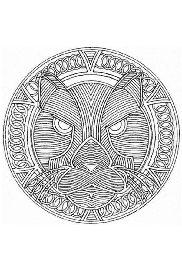 Mandala Puma - Dibujos de MANDALAS DE ANIMALES para colorear