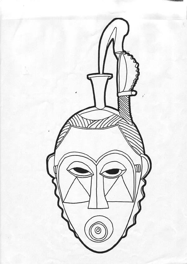 Dibujo para colorear : Mandala Máscara africana