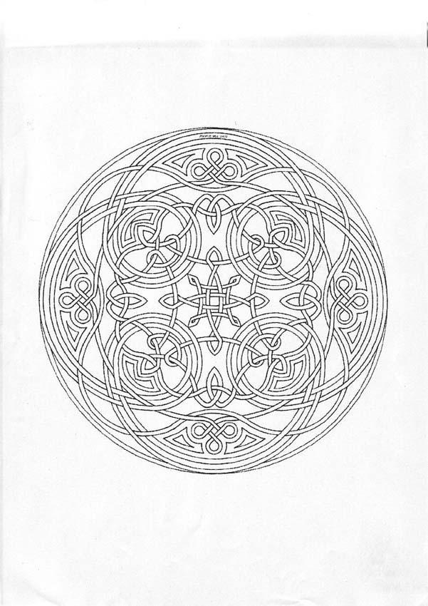 Dibujo para colorear : Mandala Laberinto y triskeles