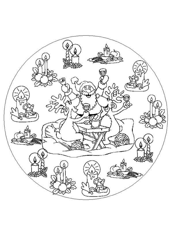 Dibujo para colorear : Mandala renos de Navidad