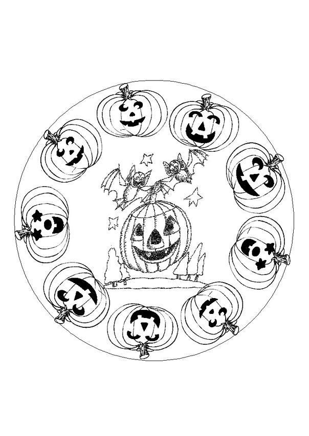 Dibujos de MANDALAS DE HALLOWEEN para colorear - 6 páginas de ...