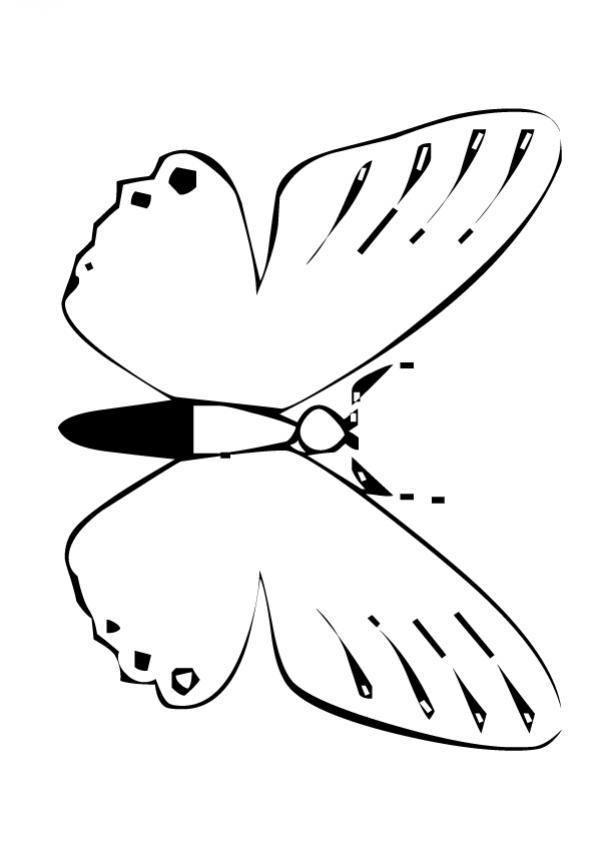 Dibujos para colorear coloreable sencillo de una mariposa rosada ...
