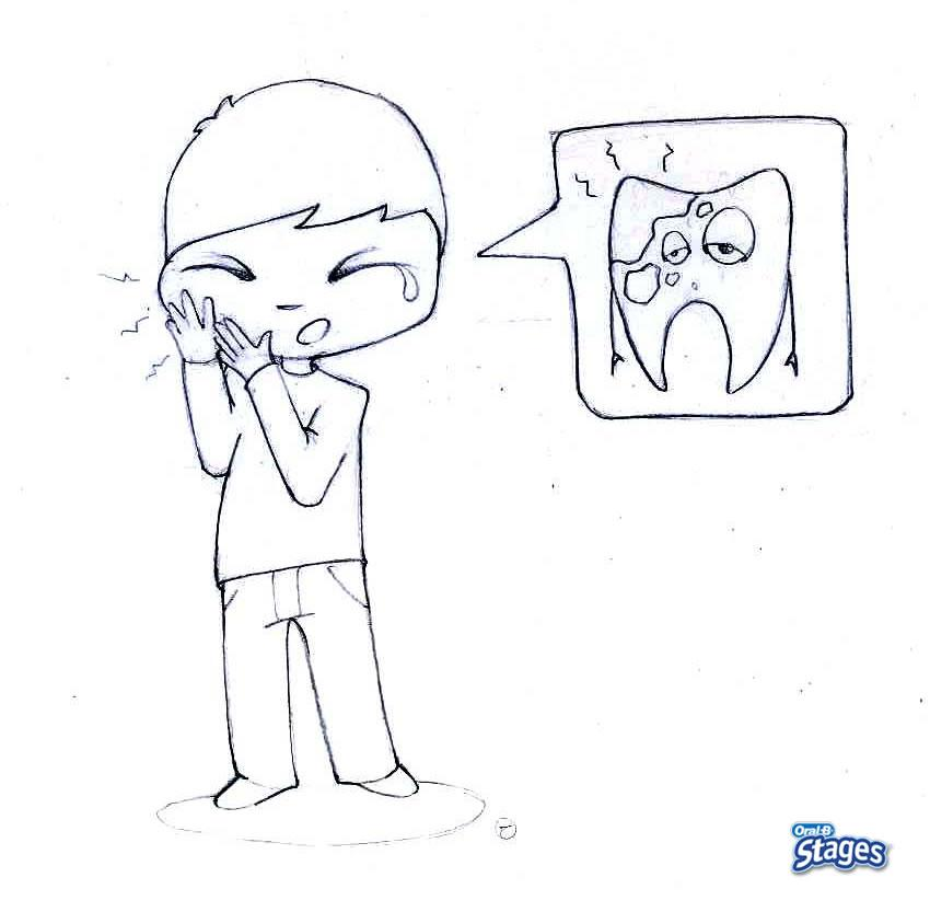 Dibujo para colorear : Me duelen los dientes