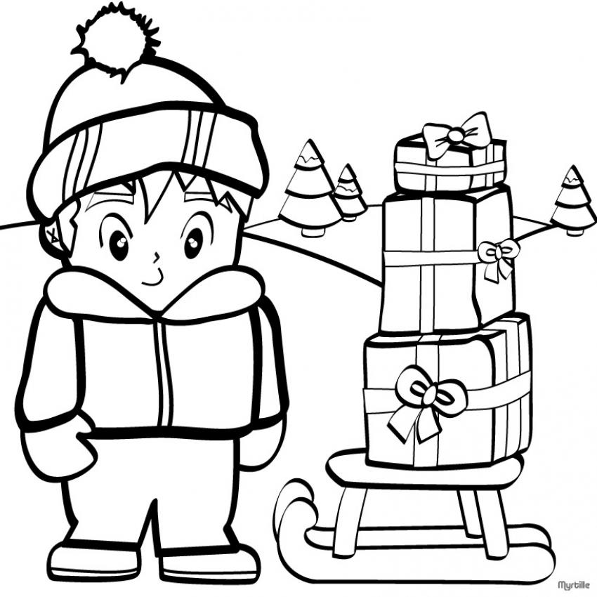 Dibujo para colorear : Niño con sus regalos de Navidad