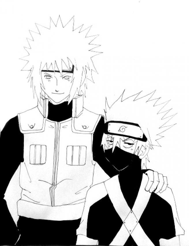 Dibujo para colorear : Naruto - Yondaime y Kakashi