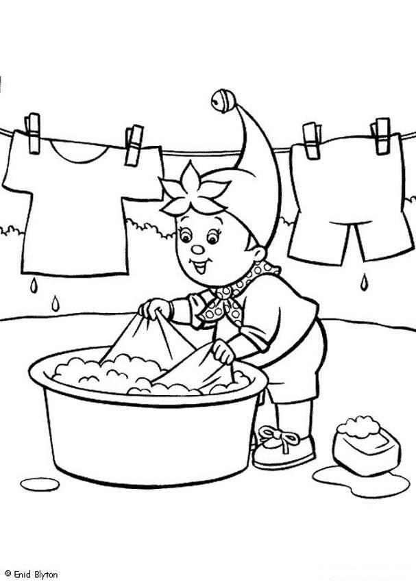 Noddy limpia la ropa - Noddy para pintar