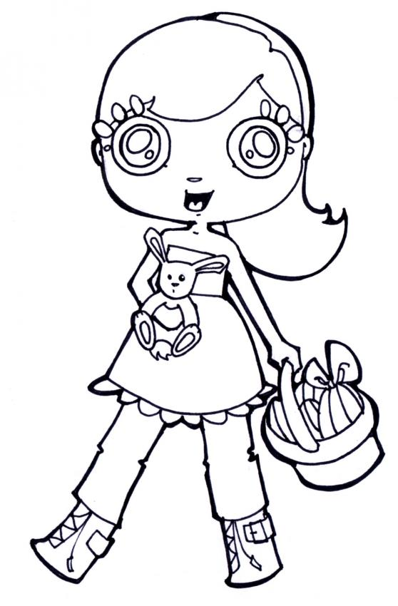 Dibujo para colorear niña con huevos de chocolate - Dibujos para ...