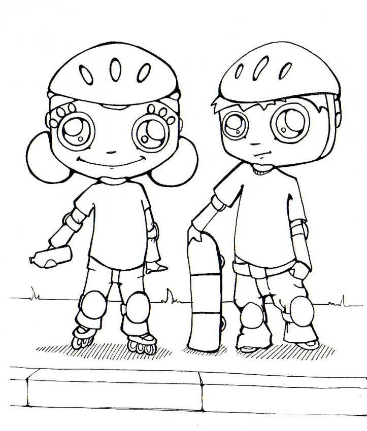 Dibujos para colorear patinaje - es.hellokids.com
