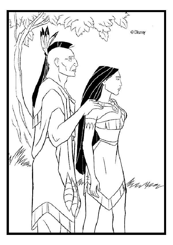 Dibujos para colorear powhatán y su hija pocahontas - es.hellokids.com