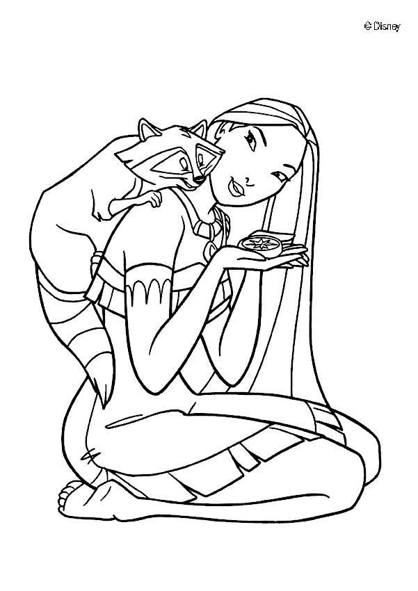 Dibujos para colorear miko y pocahontas - es.hellokids.com