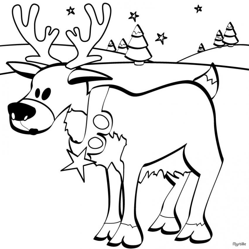 Dibujo para colorear : Reno del Papá Noel