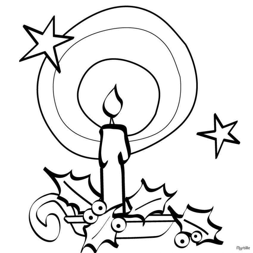 Dibujos Para Colorear Vela De Navidad Con Estrella Y Acebo