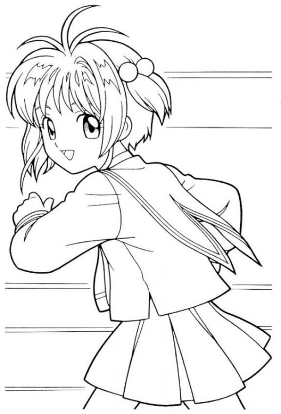 Dibujos para colorear sakura corriendo - es.hellokids.com