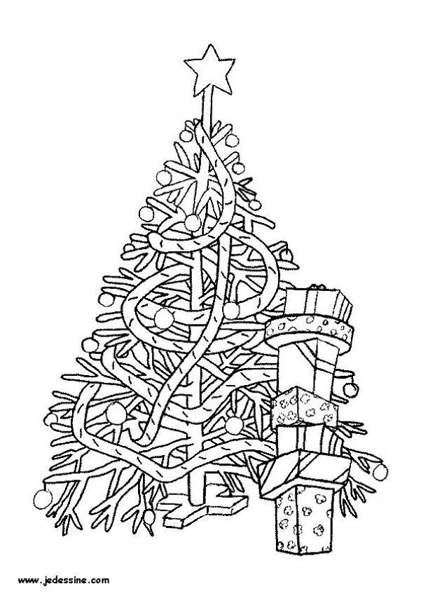 dibujo para colorear arbol de navidad con guirnaldas
