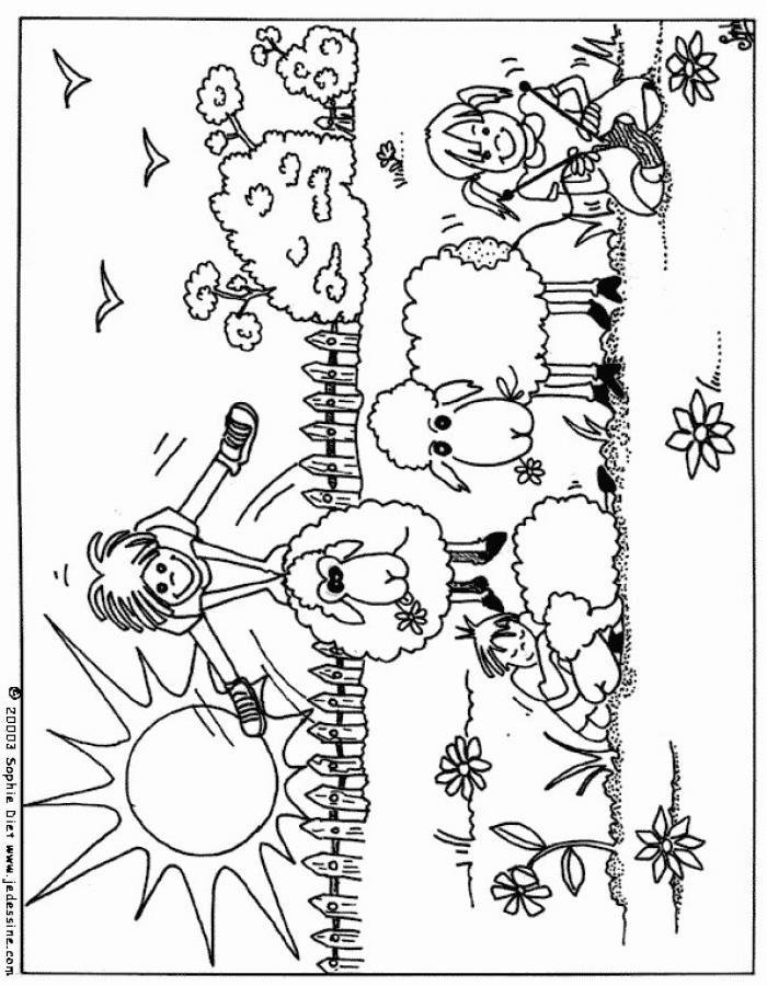 Dibujo para colorear : Juego con las ovejas