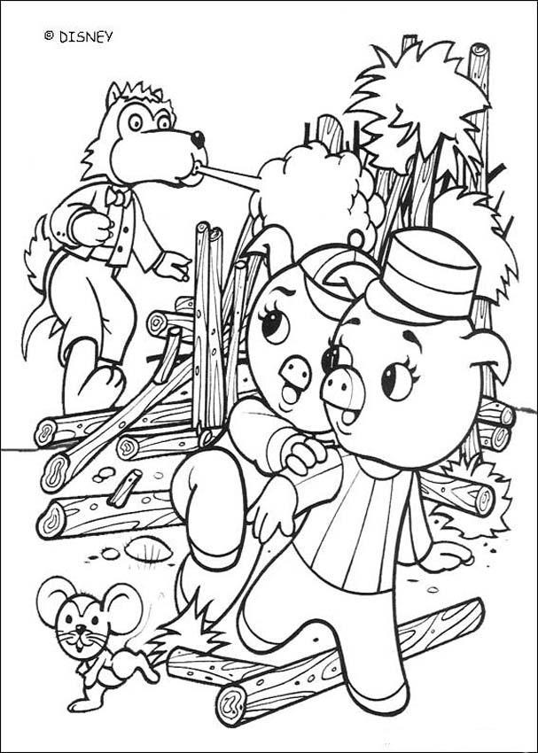 Dibujo para colorear : El lobo destruye casa de madera