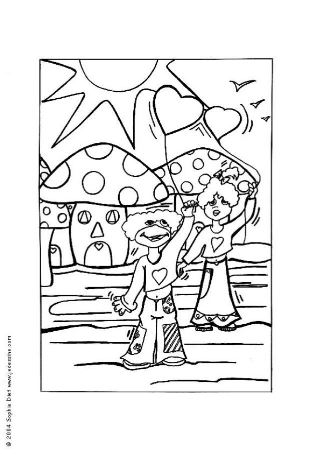 Dibujo para colorear : Camisetas con Corazones
