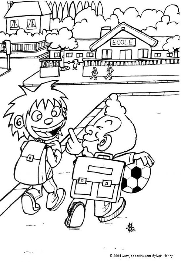 Dibujo para colorear : En el camino de la escuela
