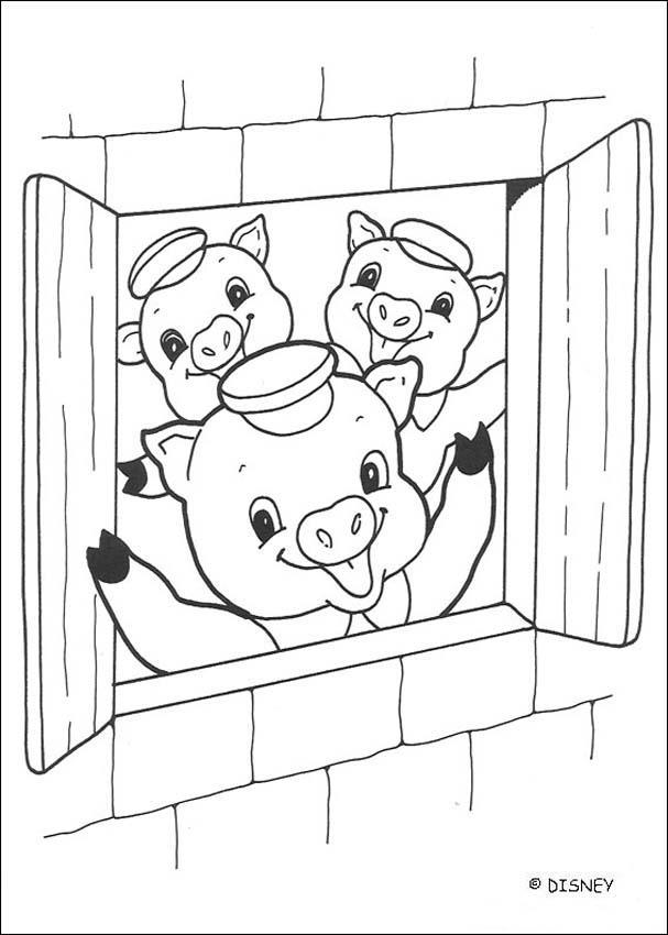 Dibujo para colorear : los cerditos en la casa