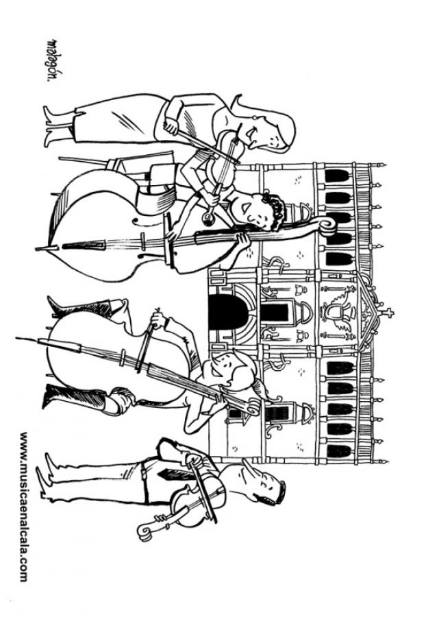 Dibujos para colorear cuarteto de cuerda y detrás la fachada de la ...